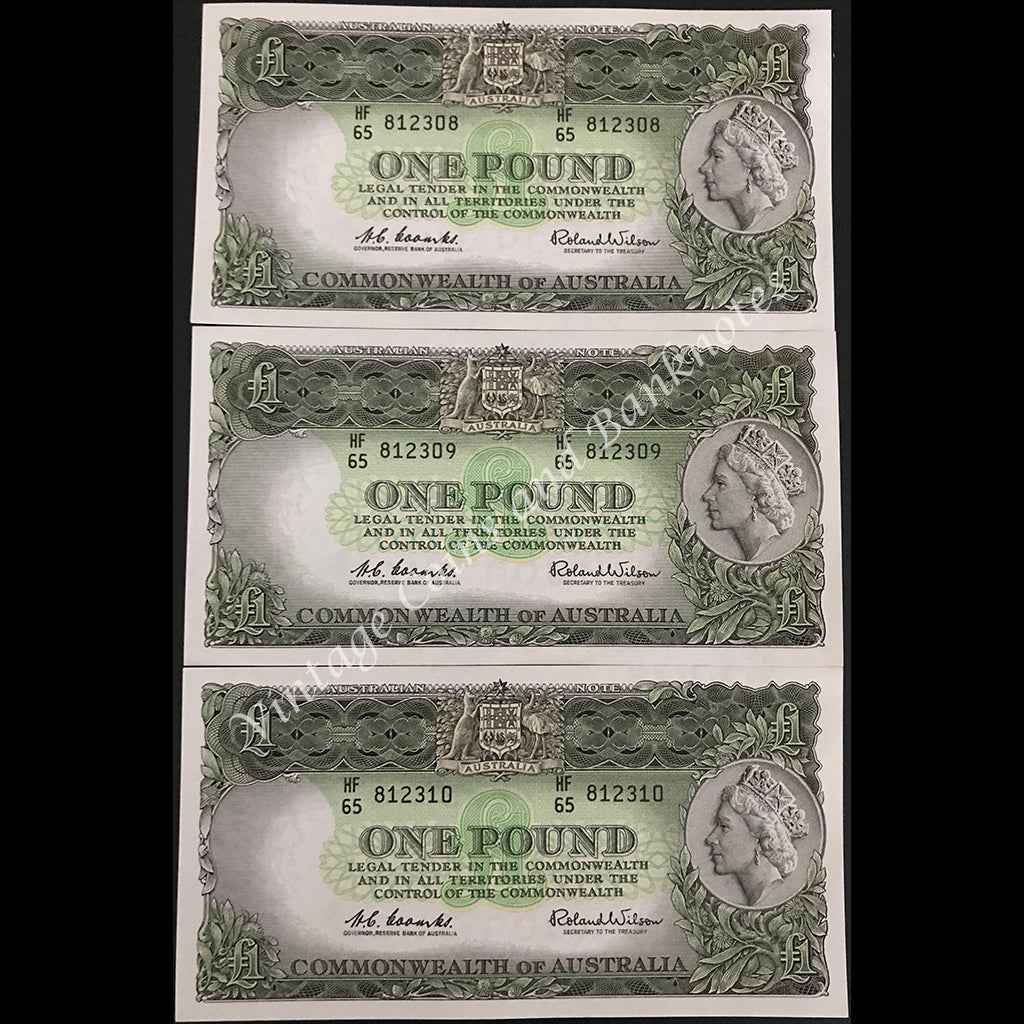 1961 Coombs Wilson One Pound Consecutive Run of 3 QEII First Prefix HF65 UNC Extremely Scarce!