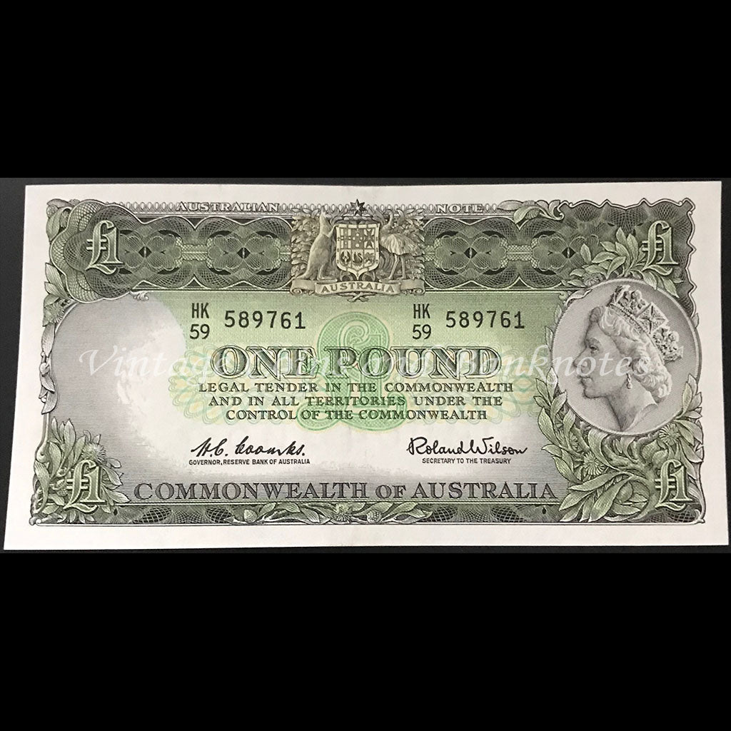1961 Coombs Wilson One Pound QEII Reserve Bank Emerald Green UNC