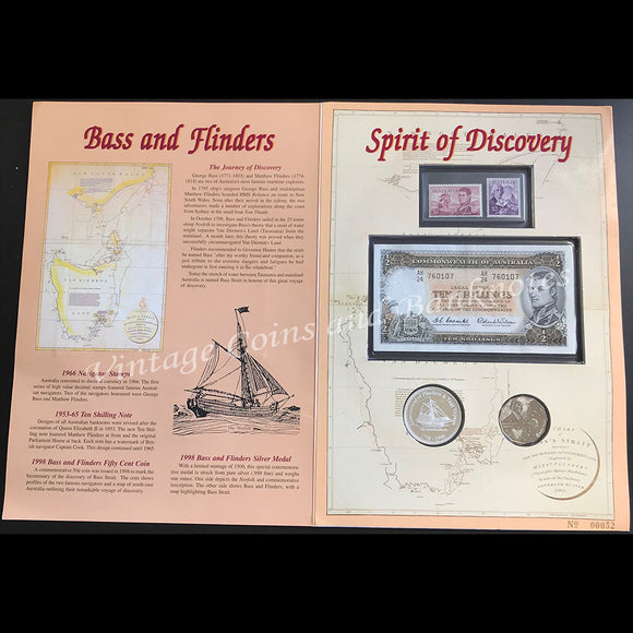 1961 Coombs Wilson Ten Shillings Bass & Flinders Limited Edition Note, Coin & Stamp Portfolio