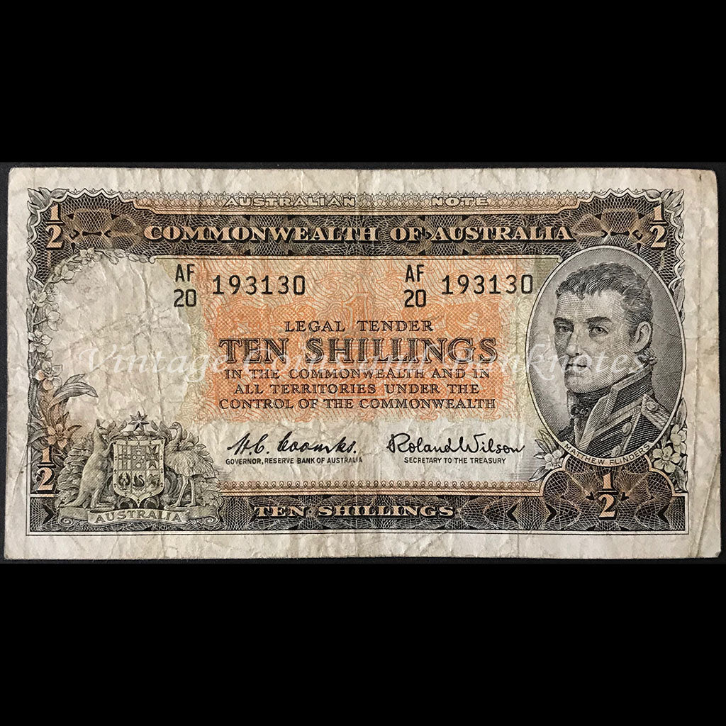 1961 Coombs Wilson Ten Shillings First Prefix AF20 Reserve Bank Fine