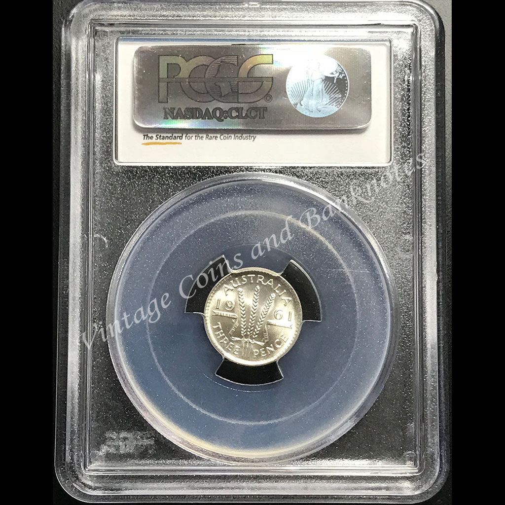 1961 Threepence Elizabeth II PCGS Graded MS66+ (GEM)