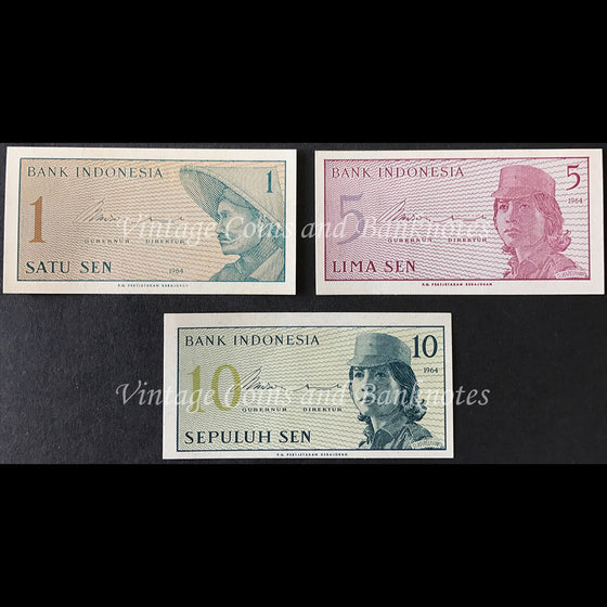 Indonesia 1964 1, 5 and 10 Sen Set