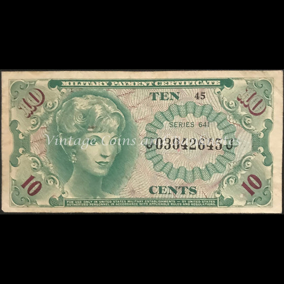 USA Military Payment Certificate ND (1965-68) 10 Cents FINE