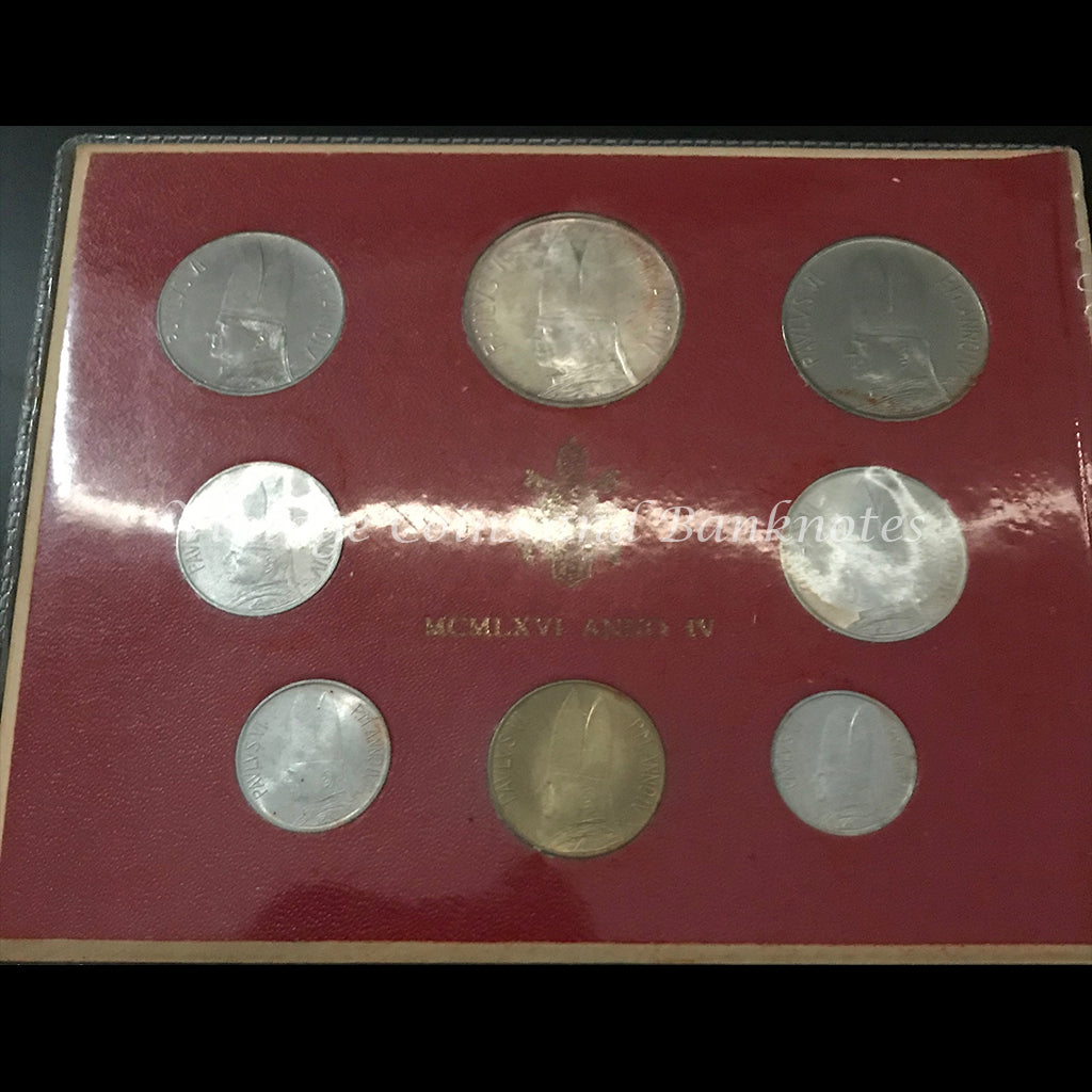 1966 Vatican City 8 Coin Mint Set - Pope Paul VI Anno IV