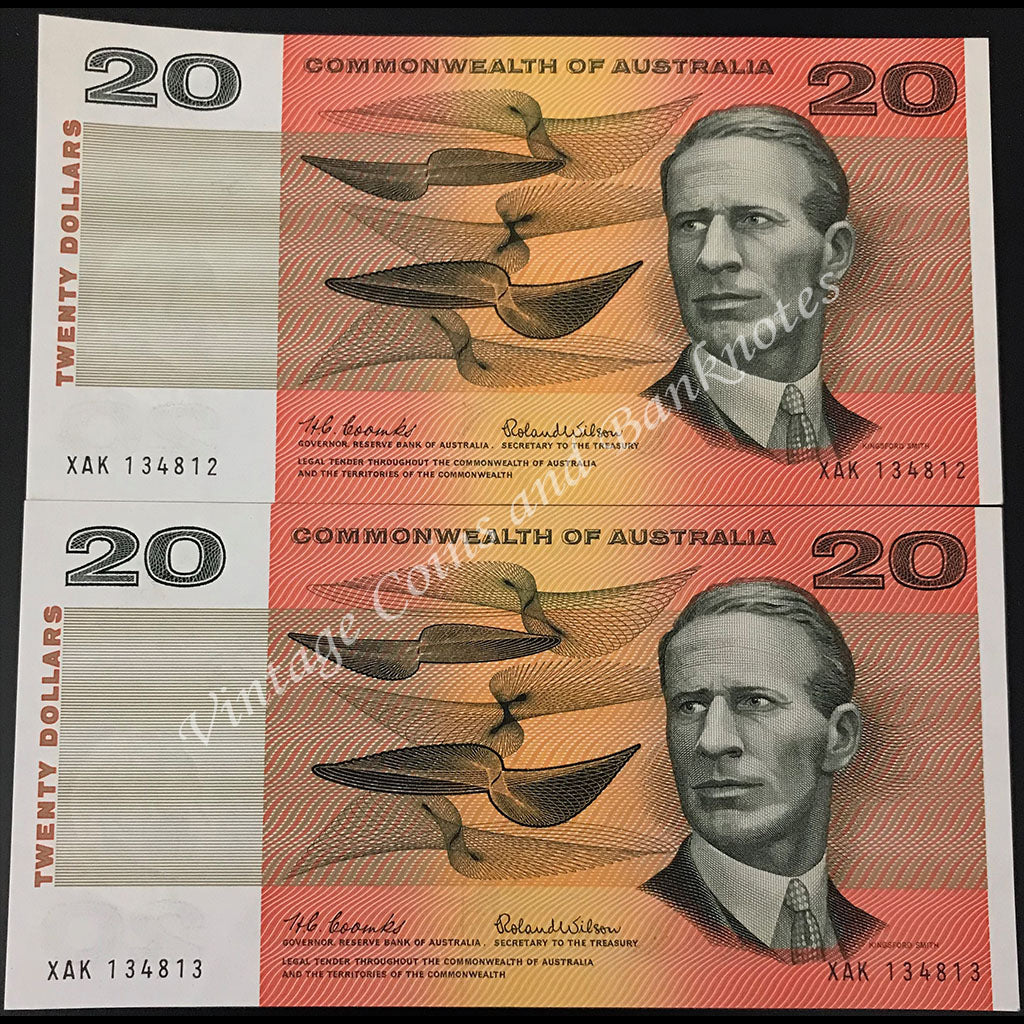 1966 Coombs Wilson $20 Consecutive Pair UNC
