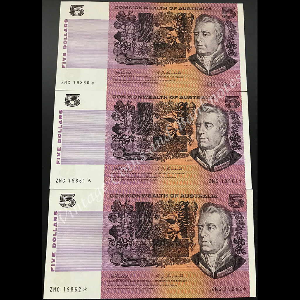 1969 Phillips Randall $5 Consecutive Run of 3 Star Notes UNC Extremely SCARCE and RARE