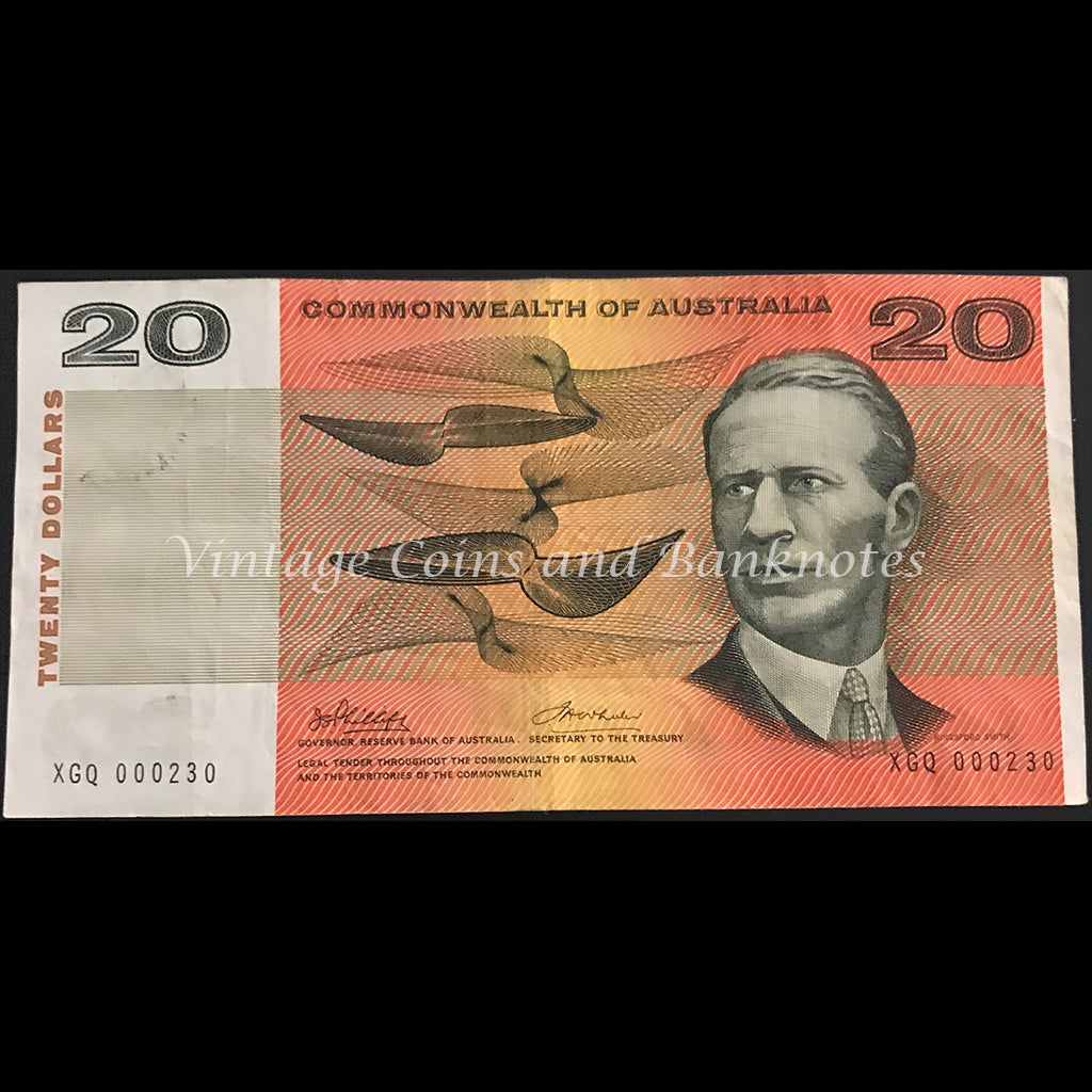 1972 Phillips Wheeler $20 Commonwealth Bank Low Issue Number 000230 VF
