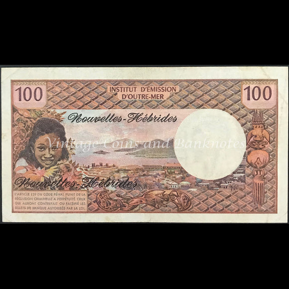 French Pacific Territories - New Hebrides ND (1975) 100 Francs gEF