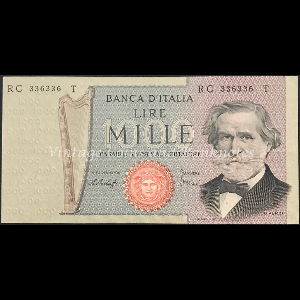 Italy 1977 1000 Lire EF Repeater Serial Number 336336