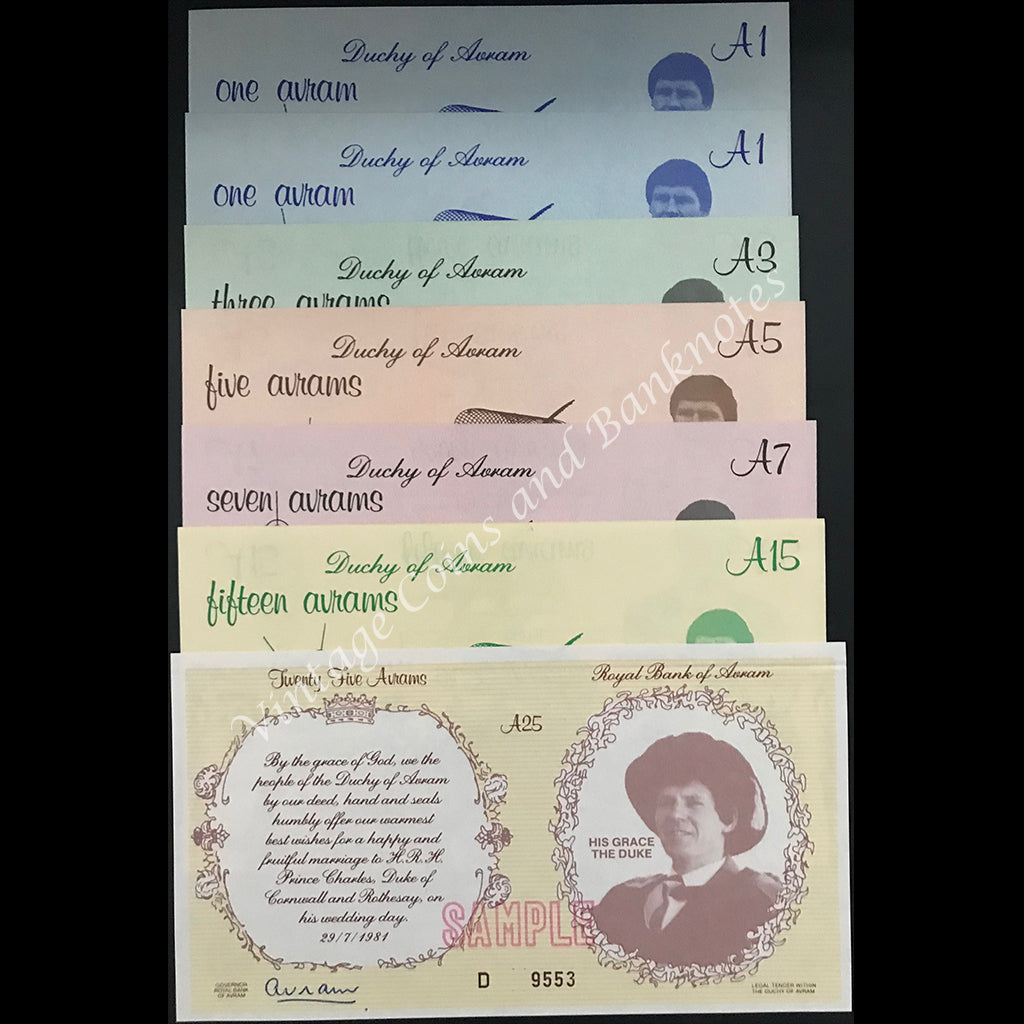 Duchy of Avram (Tasmania, Australia) Sample Banknotes ND (1980 & 1981) A1 to A25 Set UNC