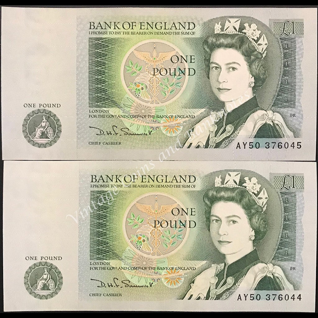 Great Britain ND (1981-84) 1 Pound Consecutive Pair UNC