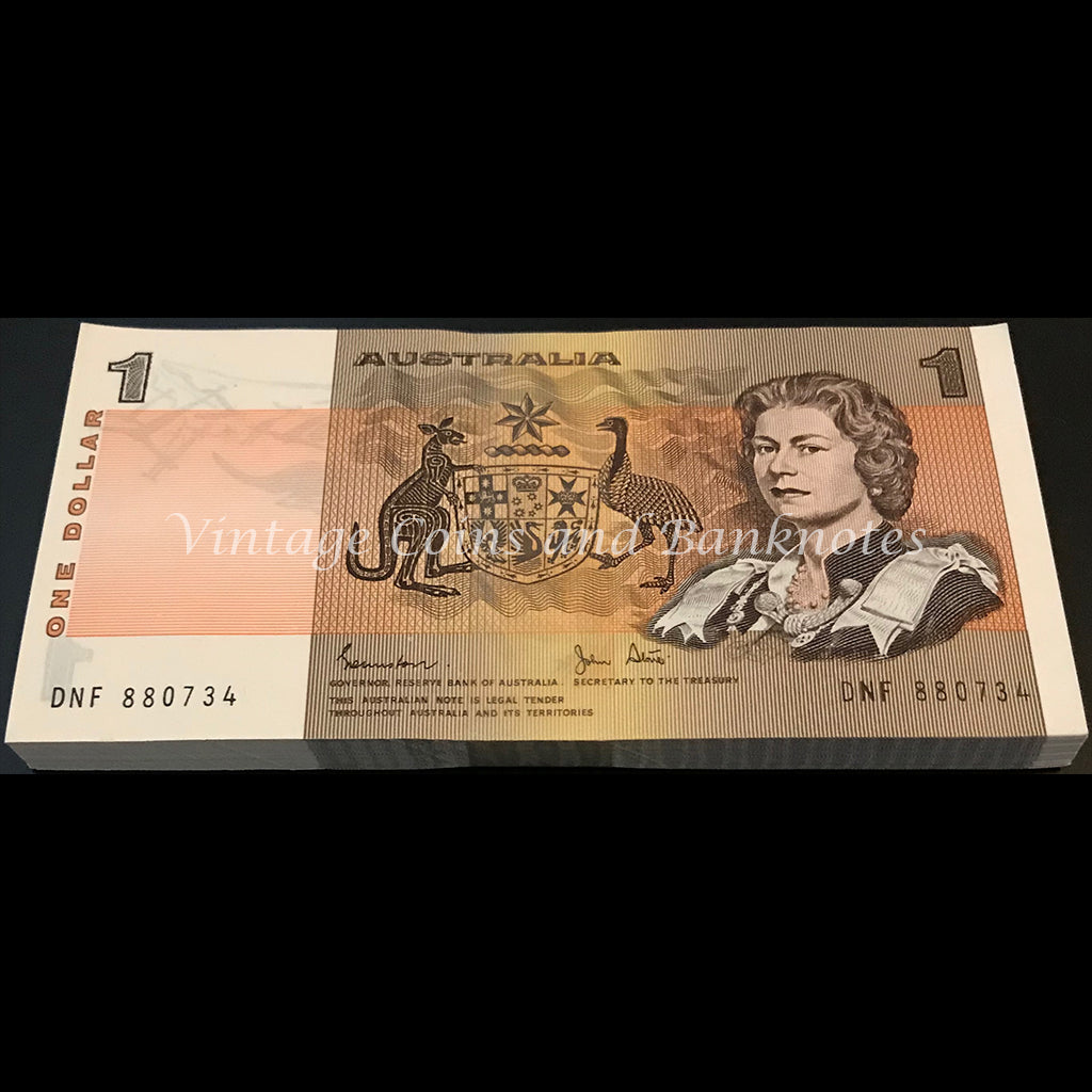 1982 Johnston Stone $1 Bundle of 100 Consecutive Notes UNC