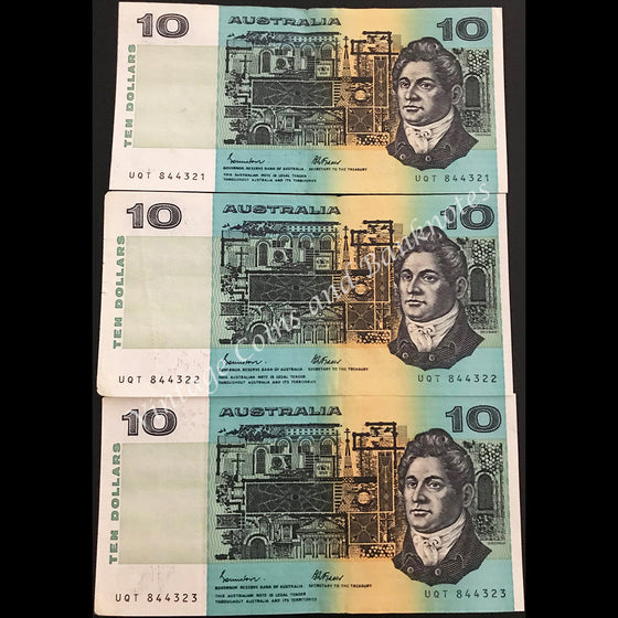 1985 Johnston Fraser $10 Consecutive Run of 3 gEF