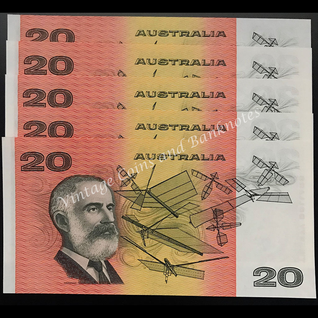 1985 Johnston Fraser $20 OCRB Serial Consecutive Run of 5 UNC