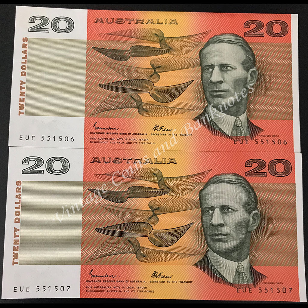 1985 Johnston Fraser $20 OCRB Serial Consecutive Pair UNC