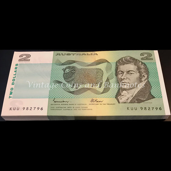 1985 Johnston Fraser $2 Bundle of 100 Consecutive Notes UNC