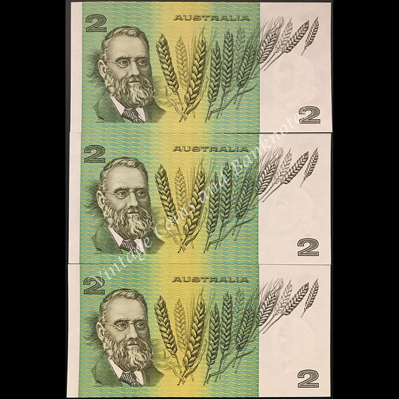 1985 Johnston Fraser $2 Consecutive Run of 3 Low Issued Numbers RARE UNC