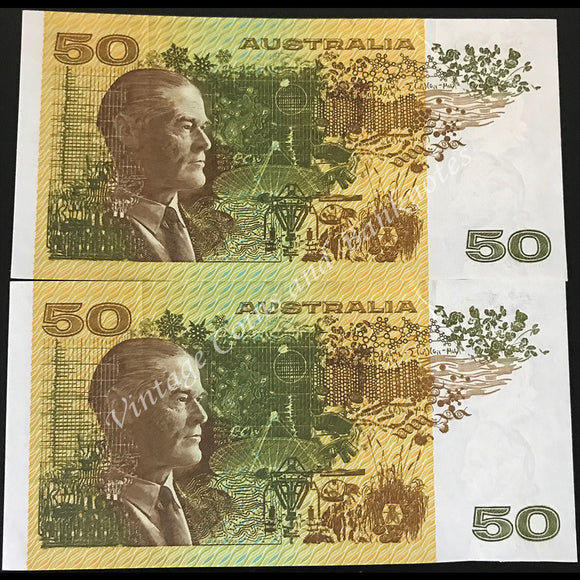 1985 Johnston Fraser $50 Consecutive Pair Gothic Thread UNC