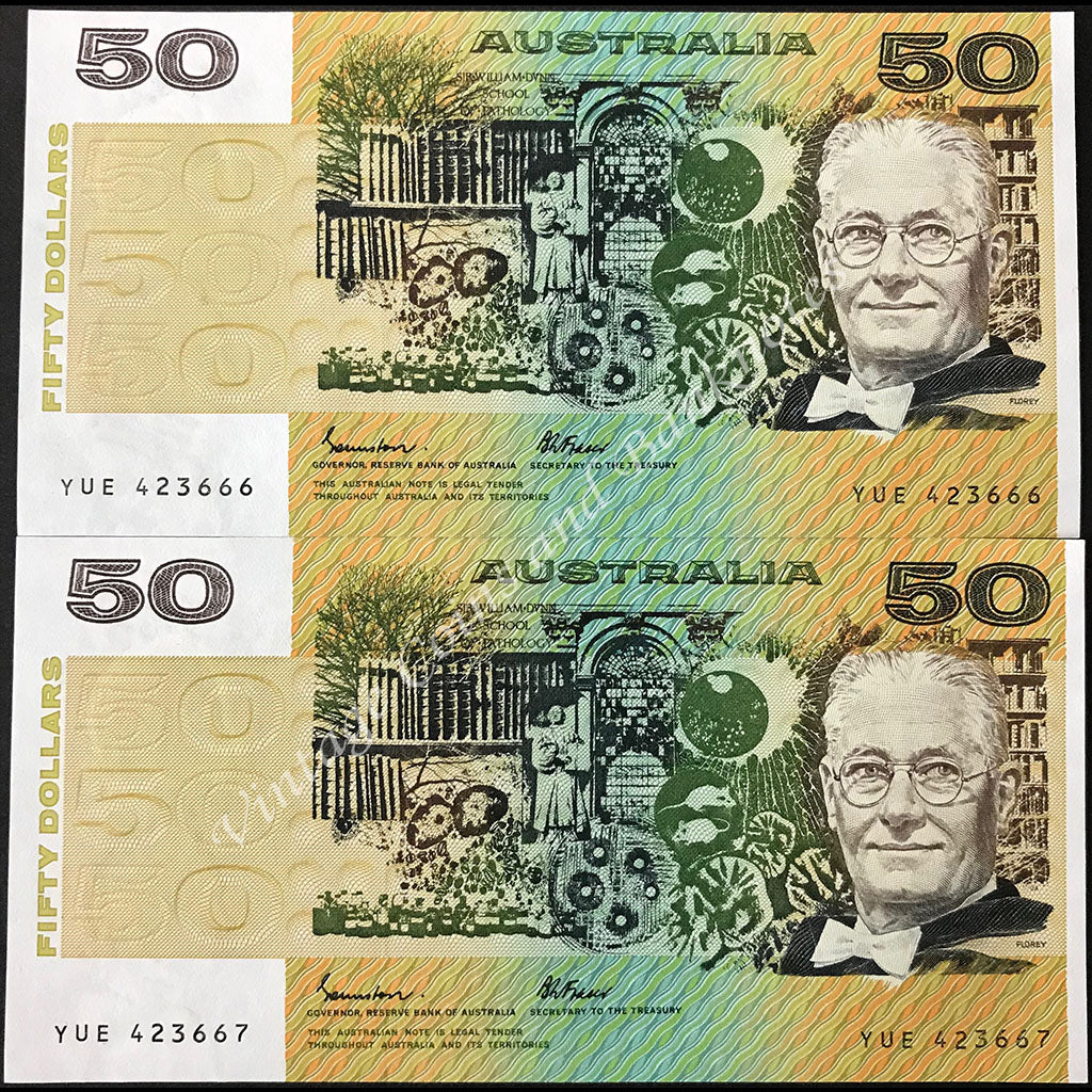 1985 Johnston Fraser $50 Consecutive Pair First Prefix YUE OCRB UNC