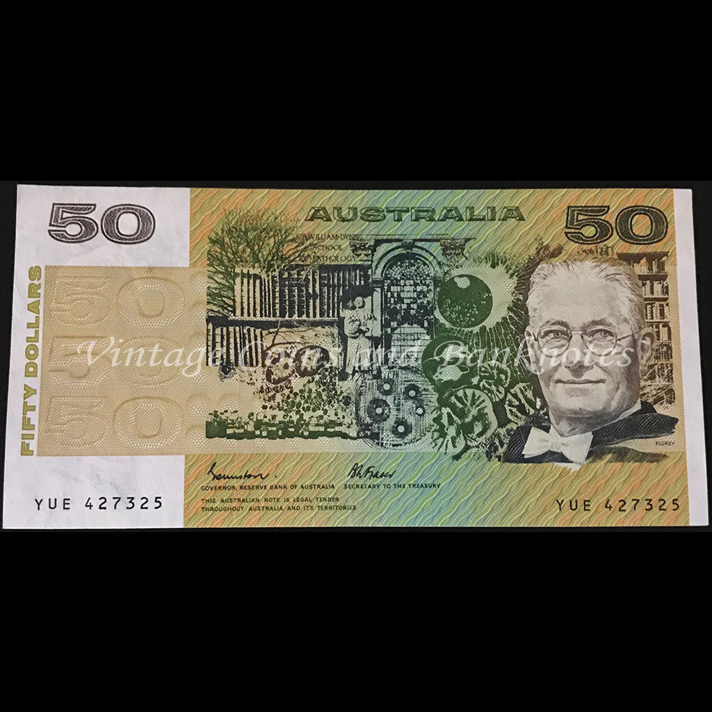 1985 Johnston Fraser $50 First Prefix YUE OCRB Thread UNC