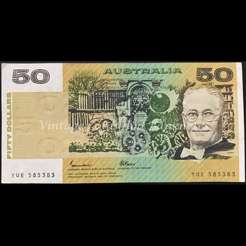 1985 Johnston Fraser $50 First Prefix YUE OCRB gVF
