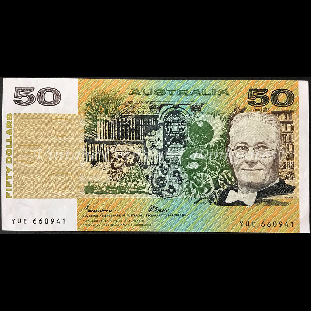 1985 Johnston Fraser $50 First Prefix YUE OCRB UNC