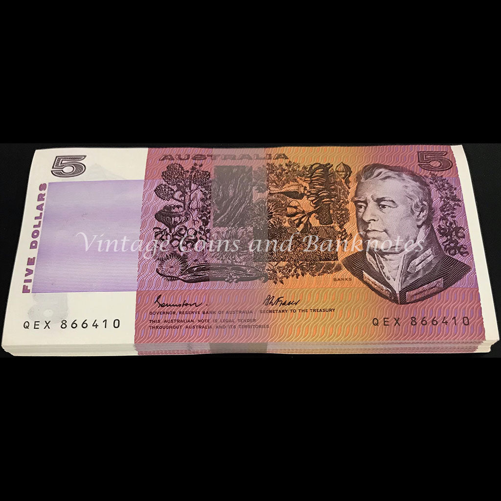 1985 Johnston Fraser $5 Bundle of 100 Notes OCRB Serial UNC