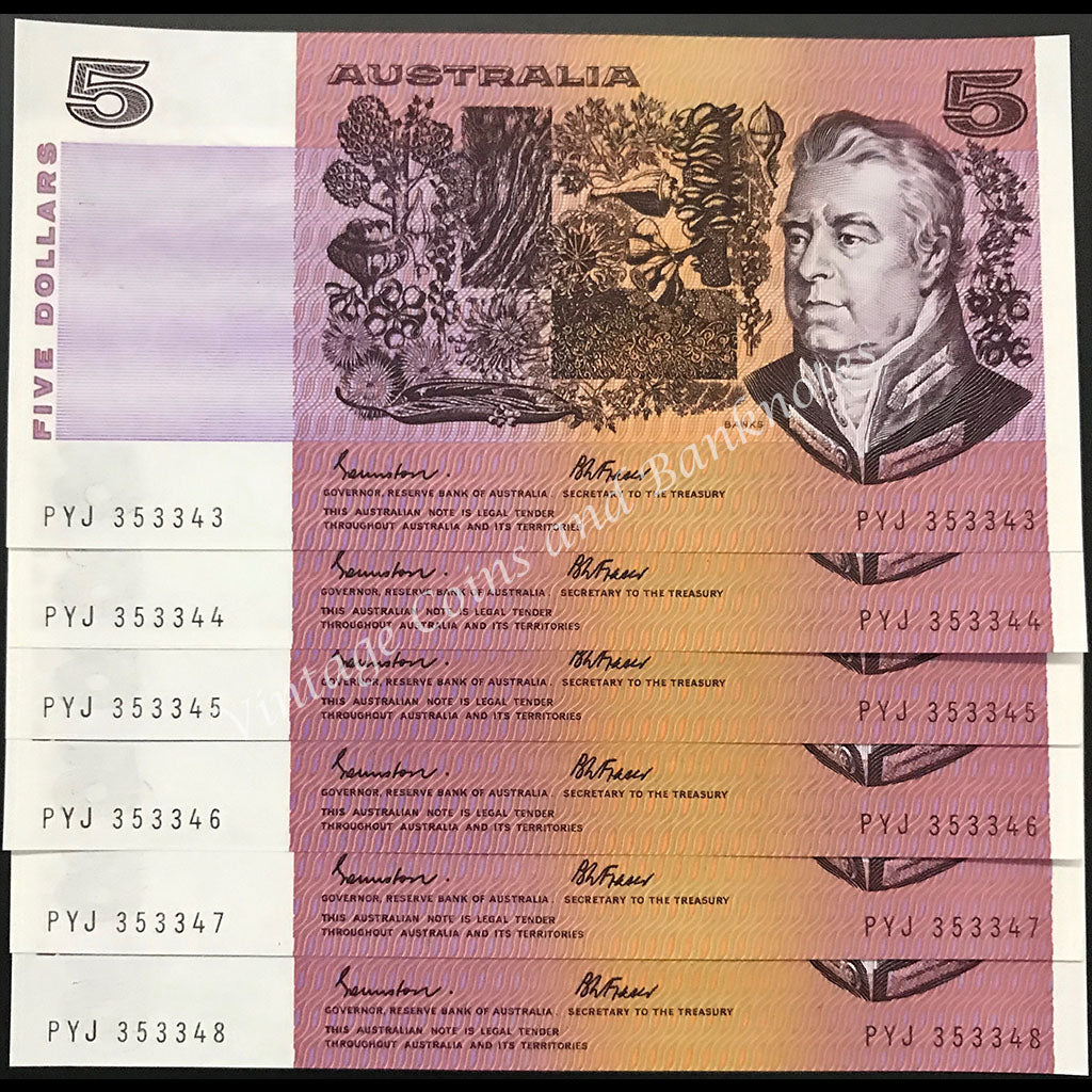 1985 Johnston Fraser $5 Gothic Serial in Consecutive Run of 6 UNC