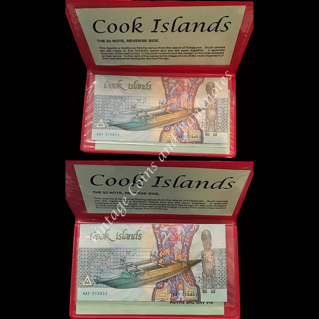 Cook Islands ND(1987) $3 Consecutive Pair UNC