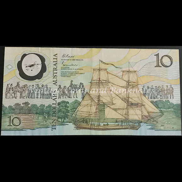 1988 Johnston Fraser $10 Bicentenary AB10 First Prefix (2nd Issue) aVF