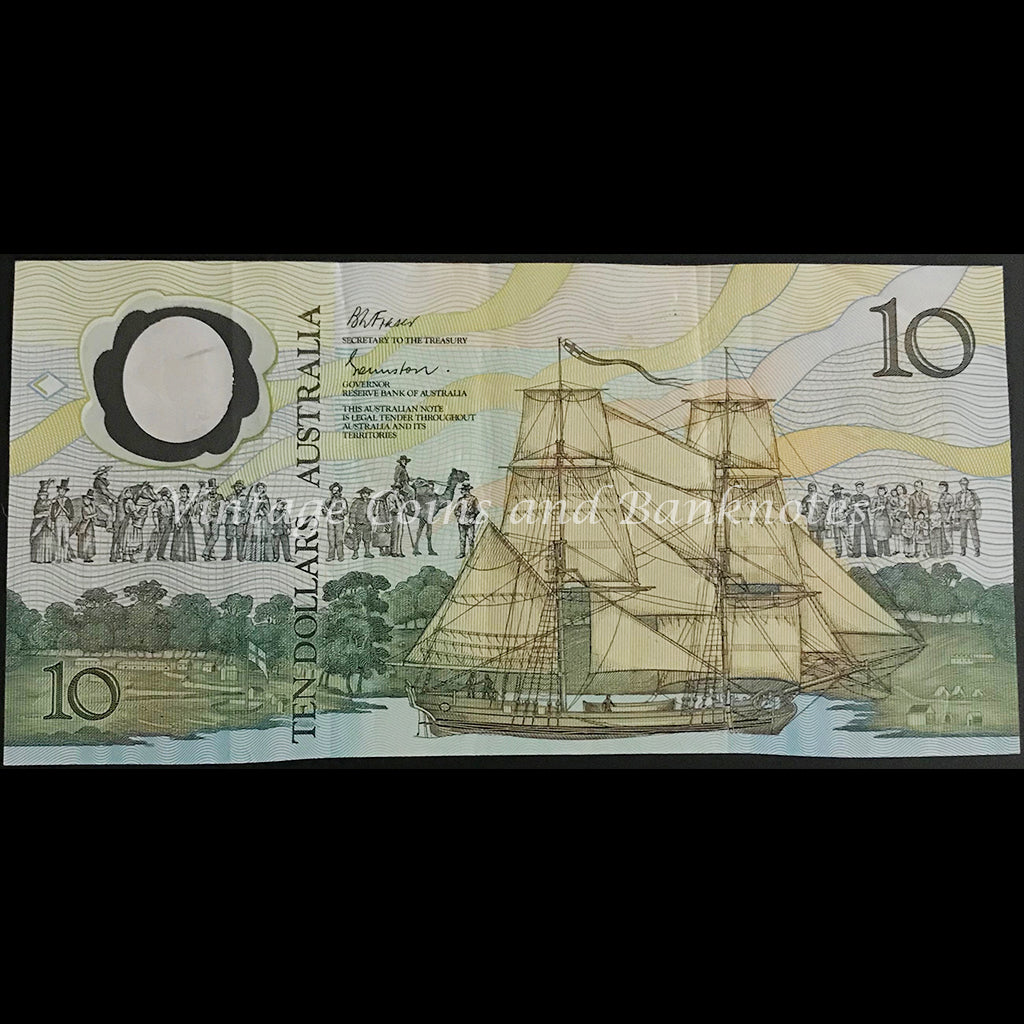 1988 Johnston Fraser $10 Bicentenary AB10 First Prefix (2nd Issue) VF