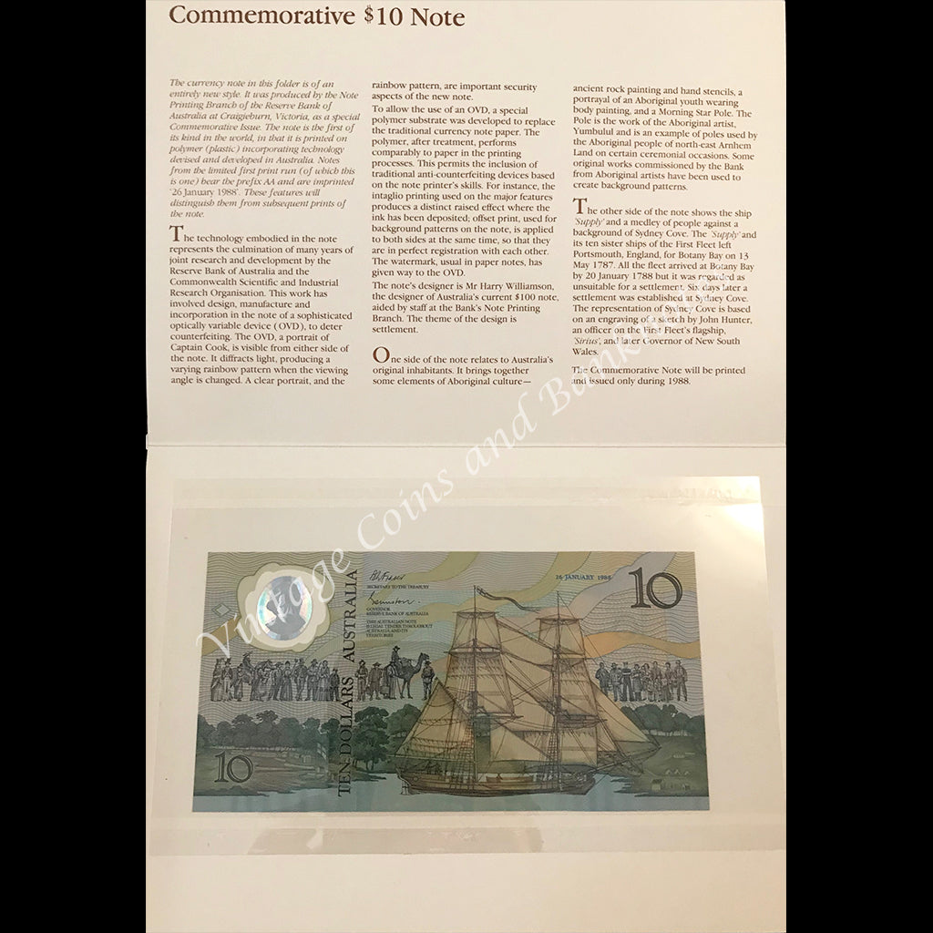 1988 Johnston Fraser $10 Commemorative Folder UNC