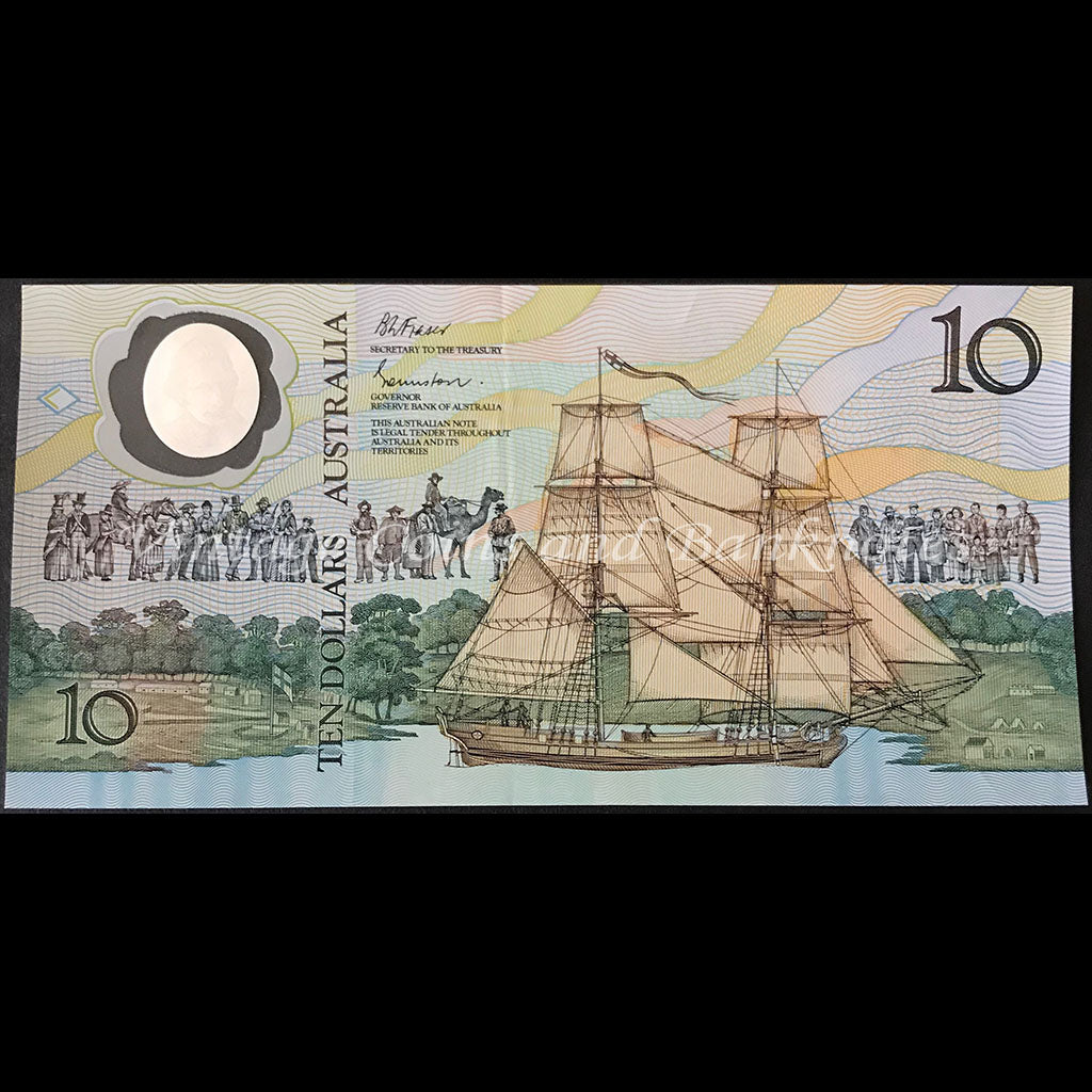 1988 Johnston Fraser $10 Bicentenary AB57 Last Prefix 2nd Issue aUNC