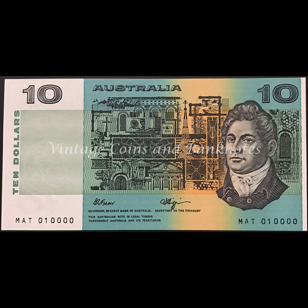1989 Fraser Higgins $10 Interesting Prefix Semi-solid Number MAT 010000 UNC