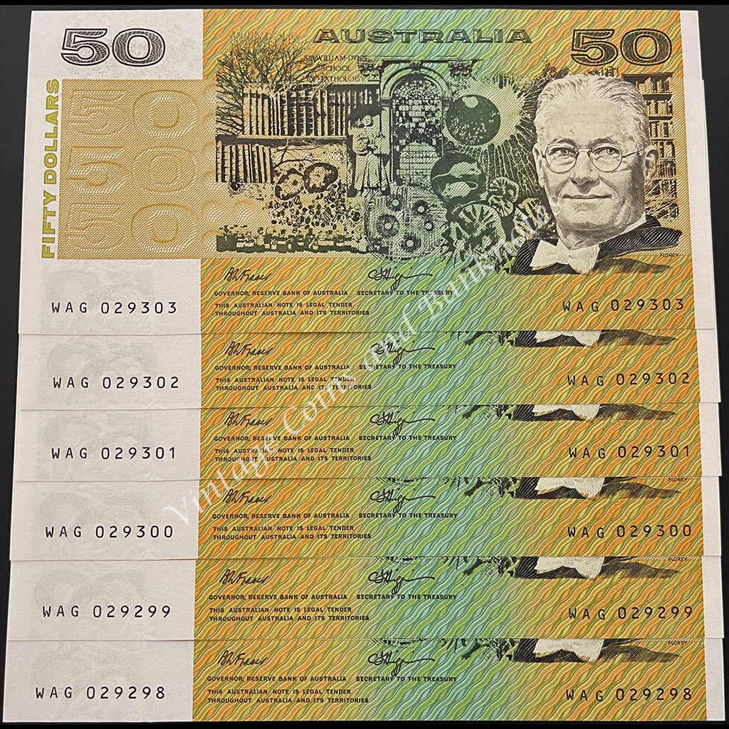 1990 Fraser Higgins $50 Consecutive Run of 6 UNC