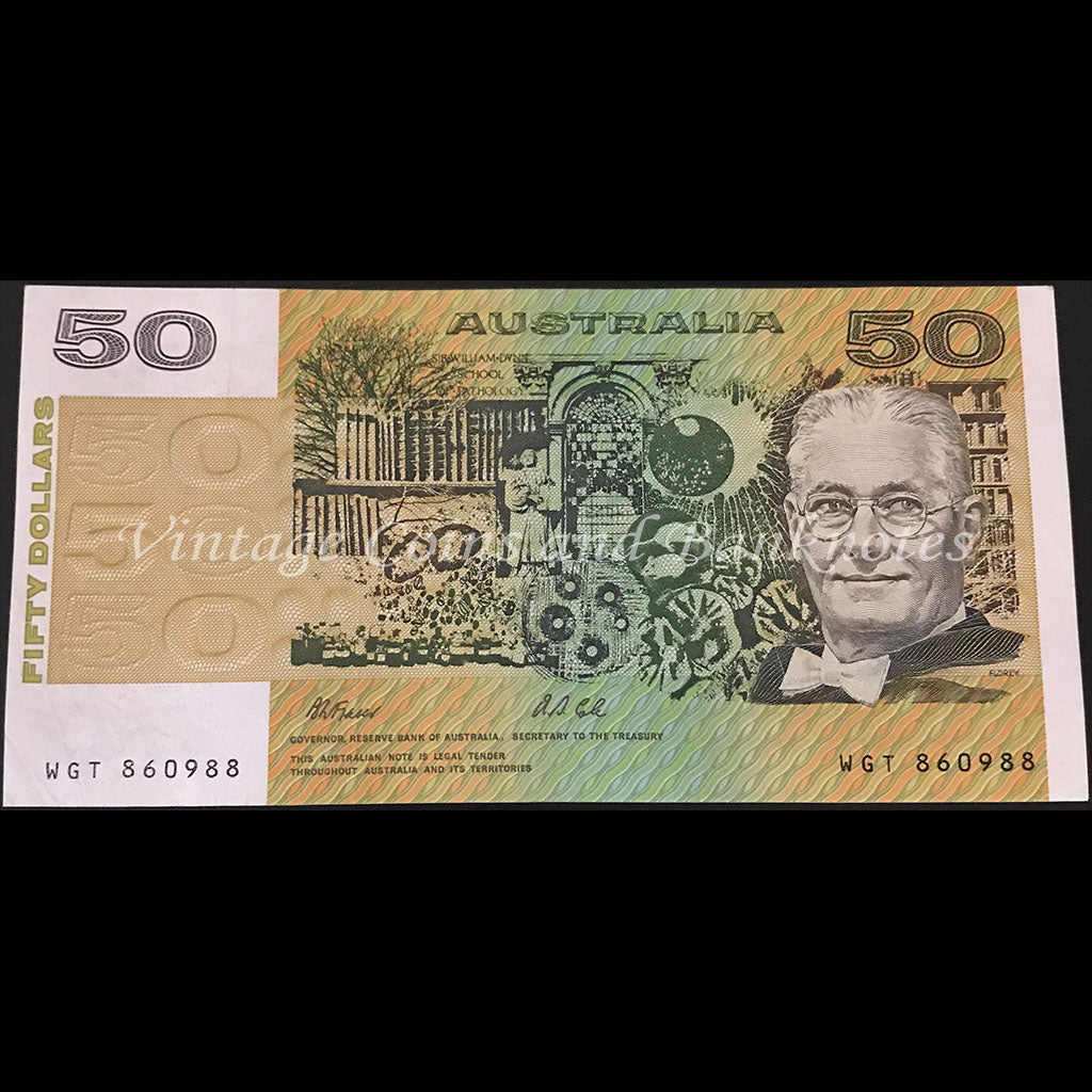 1991 Fraser Cole $50 without Plate Letter aUNC