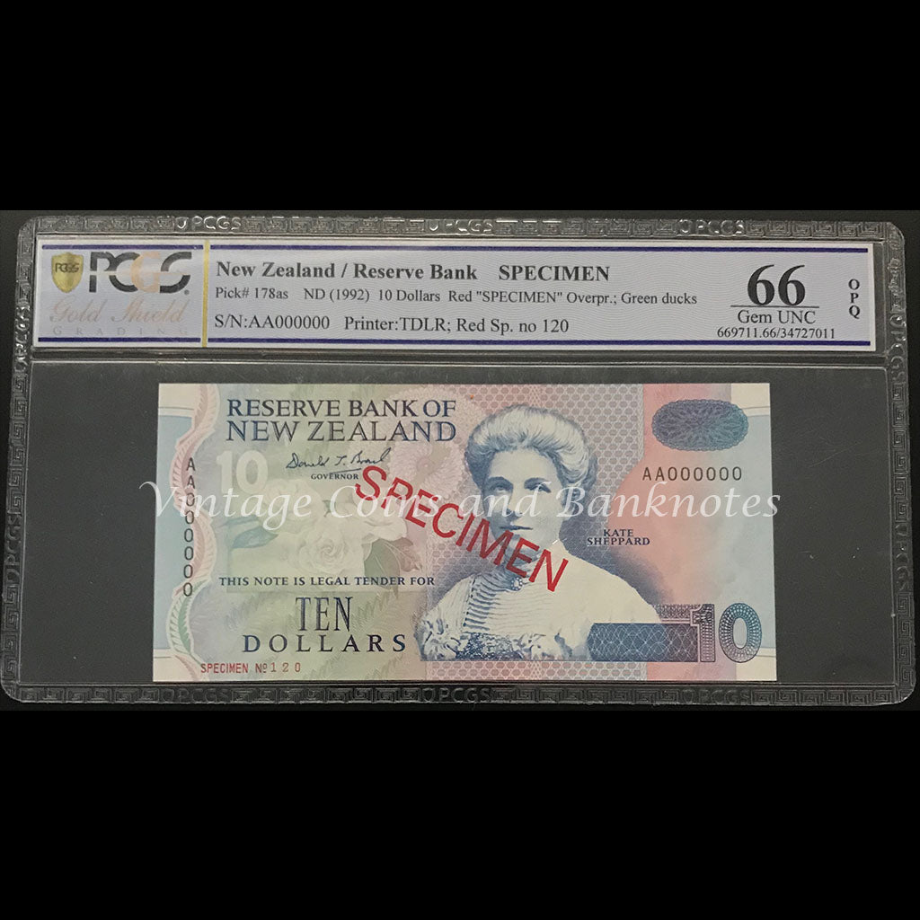 New Zealand ND (1992) $5 - $100 Complete Specimen Set PCGS Graded Extremely Scarce