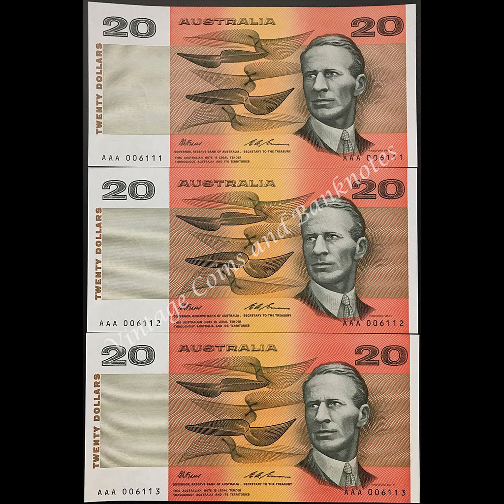 1993 Fraser Evans $20 Prefix AAA (NPA Issued) Low Numbered Consecutive Run of 3 UNC