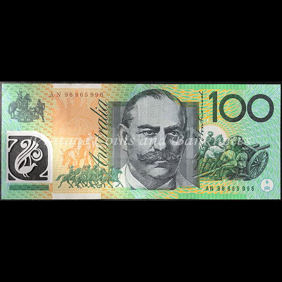 1996 Fraser Evans $100 First Test Note Prefix AN96 gEF+