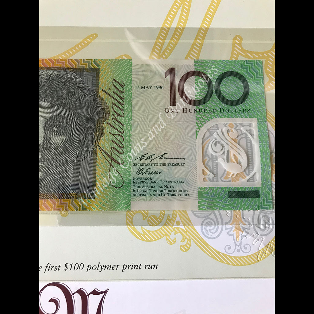 1996 NPA $100 Melba & Monash Set First Prefix AA 96 and Last Prefix ZLD