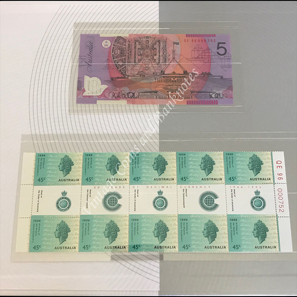 1996 $5 30 Years of Decimal Currency Note and Stamp Portfolio Red Serial