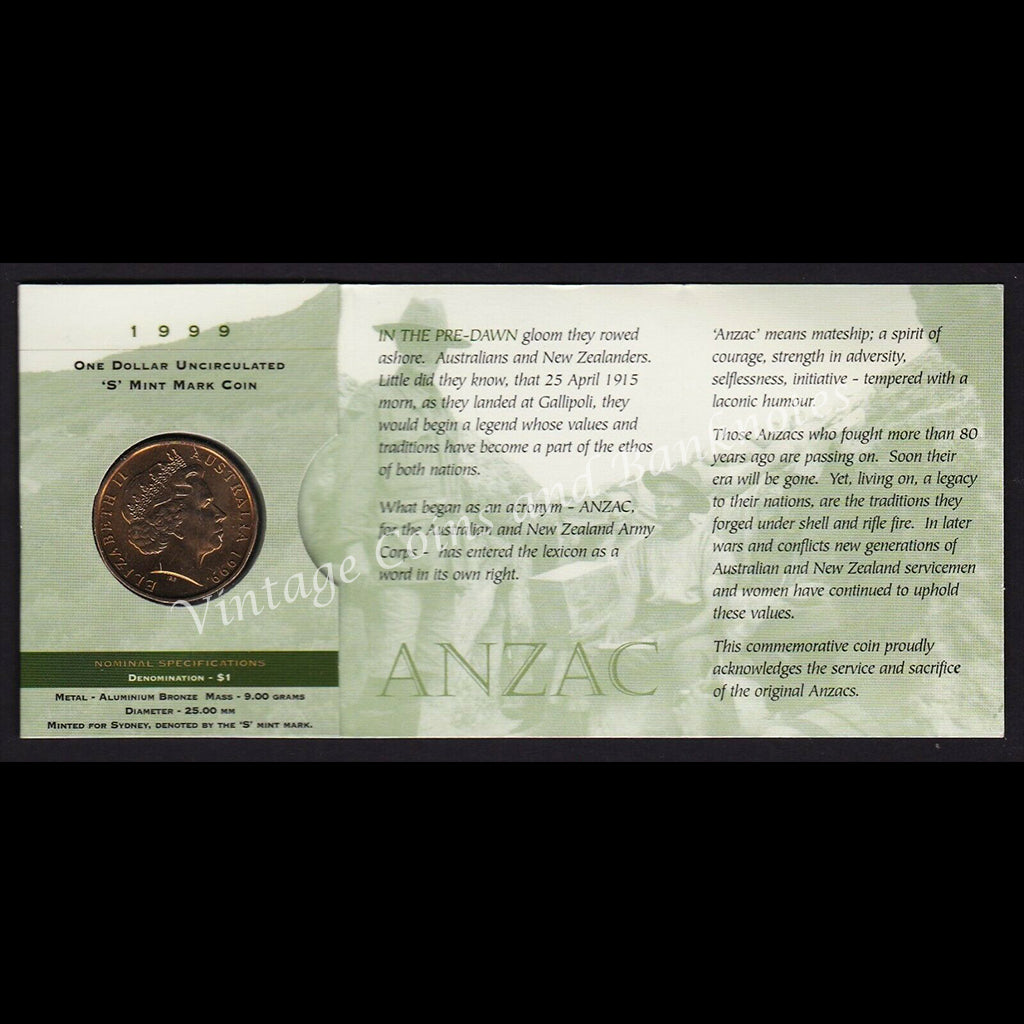 1999 $1 Coin The Last Anzacs UNC