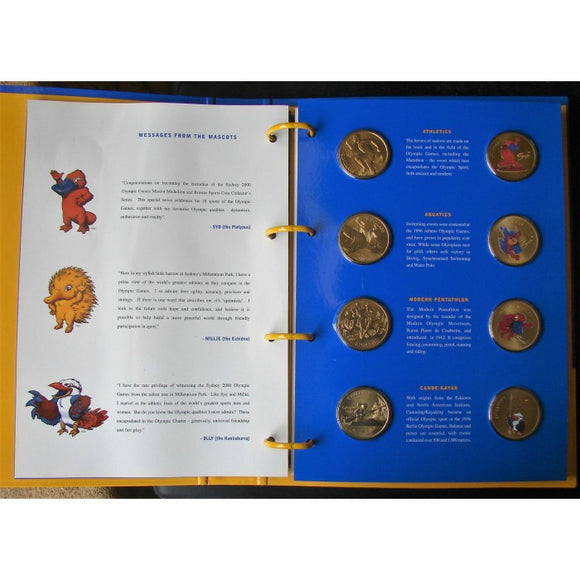 2000 Sydney Olympics Mascot Medallion and Bronze Sports $5 Coin Collector's Series