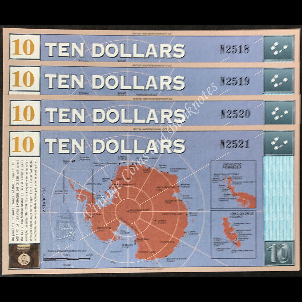 Antarctica 2001 $10 Consec Run of 4