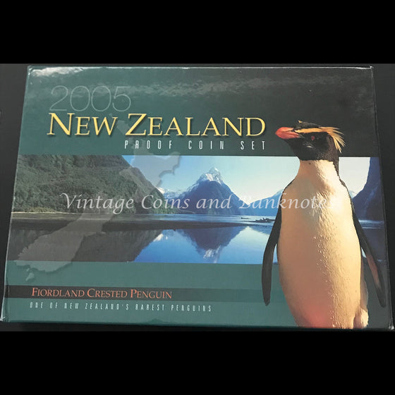 2005 New Zealand Proof Coin Set - Fiordland Crested Penguin
