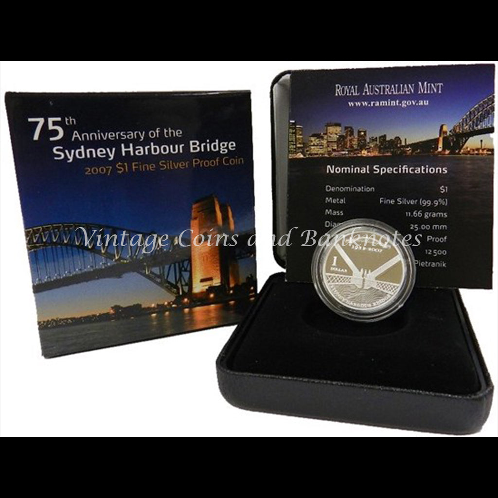 2007 $1 Silver Proof Coin - 75th Anniversary of the Sydney Harbour Bridge