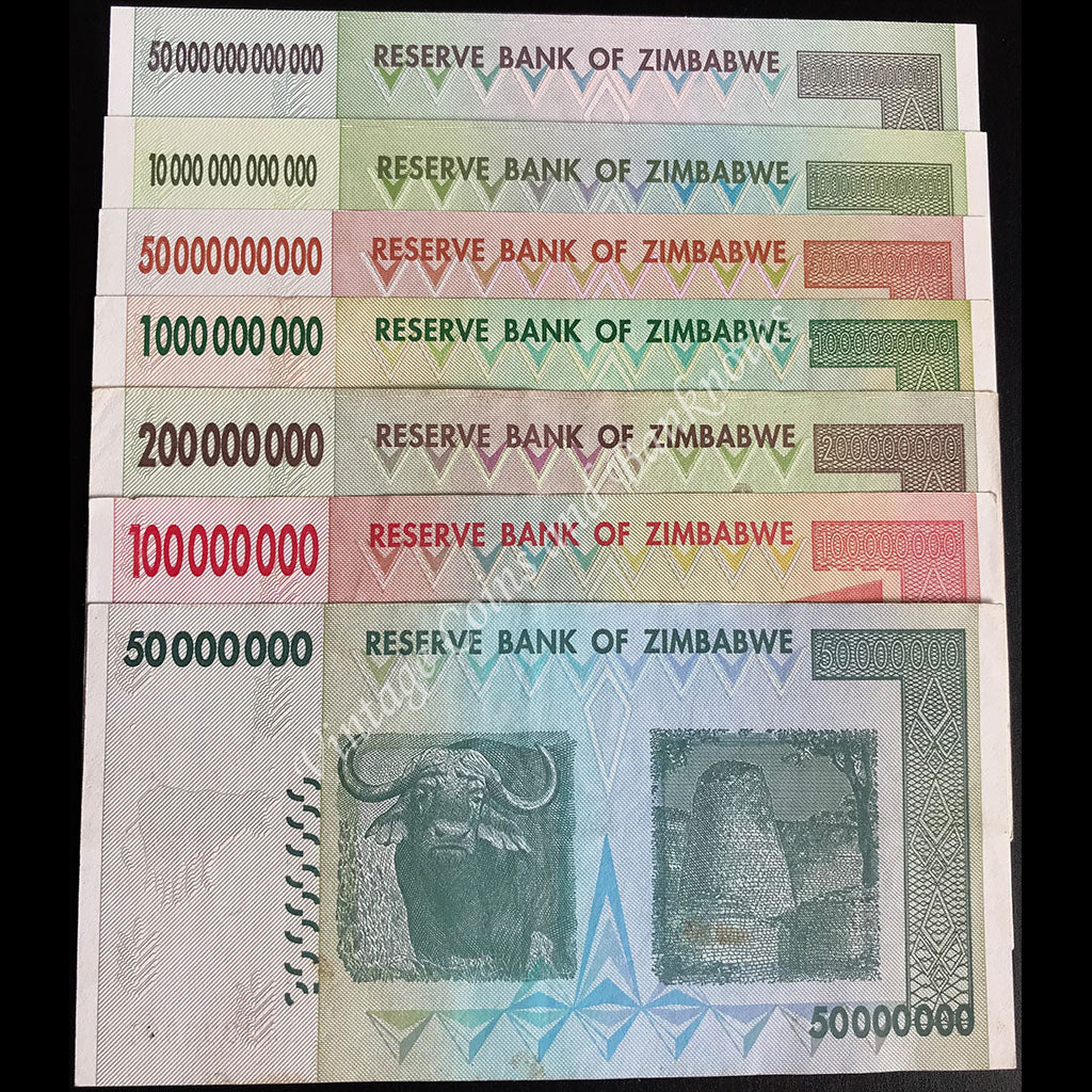Zimbabwe 2008 $50 Million to $50 Trillion Set AA Series aUNC to UNC