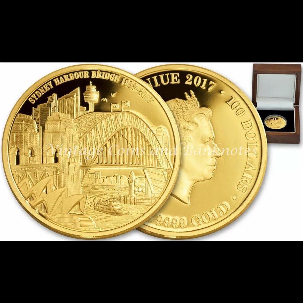 2017 $100 Gold Coin 1 Oz Niue Issued Celebrating 85 Years of Sydney Harbour Bridge Limited Ed 150 Sets