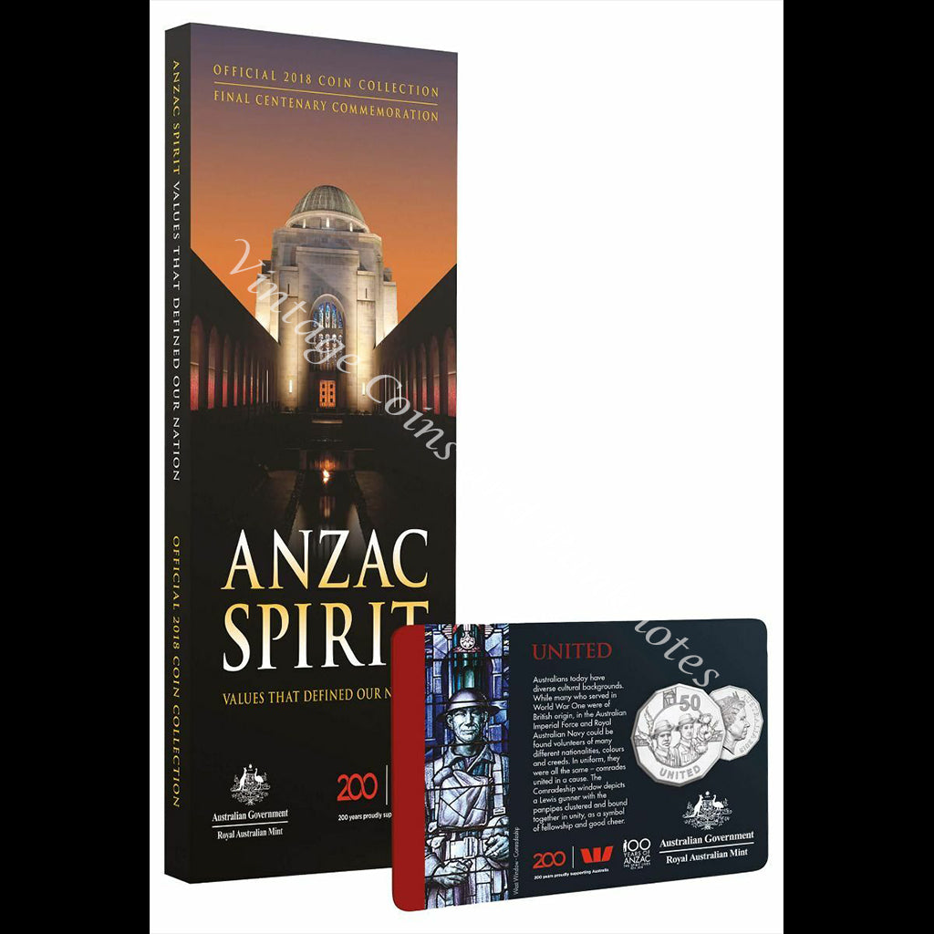 2018 ANZAC Spirit - Coin Collection Final Centenary Commemoration with United 50 Cent Coin UNC