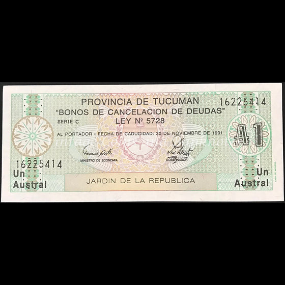 Argentina ND 1 Austral Debt Cancellation Bond Province of Tucuman UNC